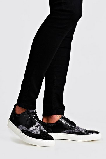 Metallic silver Casual Brogue Detail Trainer