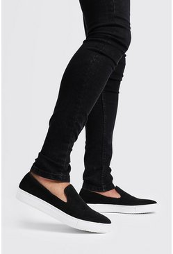 Mens Black Slip On Velvet Trainer