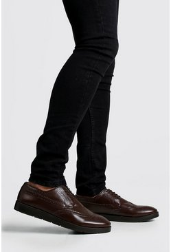 Brown Faux Leather Creeper Brogue