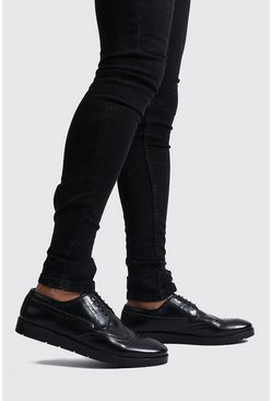 Faux Leather Creeper Brogue, Black