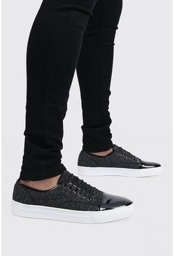 Metallic silver Metallic Lace Up Trainer
