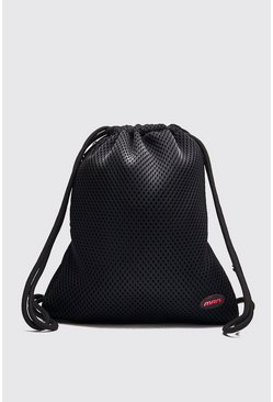 Black Mesh Drawstring Bag With MAN Patch