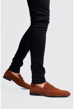 Mens Rust Faux Suede Loafer