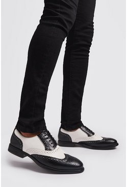 Mens Black And White Faux Leather Brogue