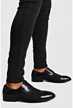 Mens Black Texture Mix Lace Up Formals