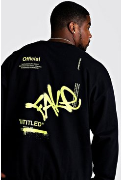 Herr Black Big & Tall Loose Fit Fake Graffiti Sweatshirt