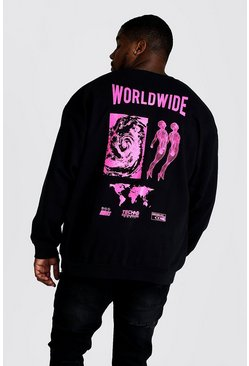 Mens Black Big & Tall Loose Fit Worldwide Print Sweatshirt