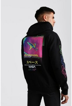 Black NASA Neon Back And Sleeve Print Hoodie