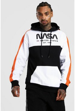 White NASA Colour Block License Hoodie