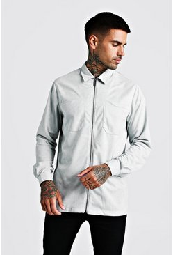 Mens Grey Zip Through Suedette Overshirt