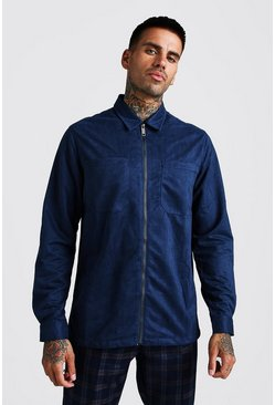 Mens Navy Zip Through Suedette Overshirt
