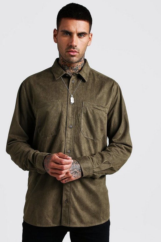 Khaki Oversized Suedette Long Sleeve Shirt