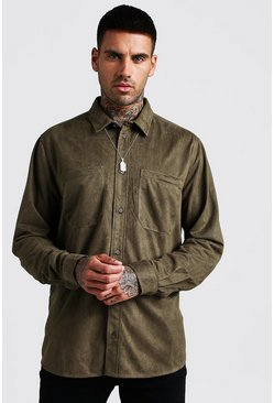 Mens Khaki Oversized Suedette Long Sleeve Shirt