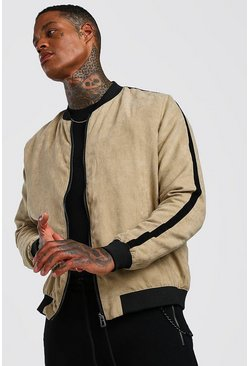 Mens Sand Faux Suede Bomber With Side Stripe