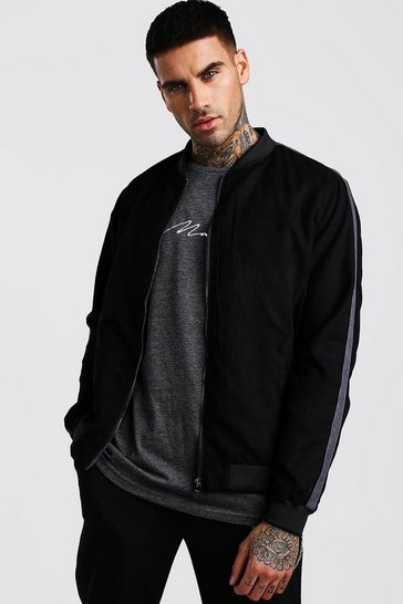 Black Faux Suede Bomber With Side Stripe