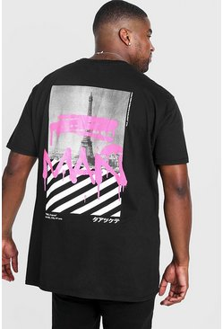 "Herr Black Big & Tall - ""MAN"" t-shirt med graffititryck"