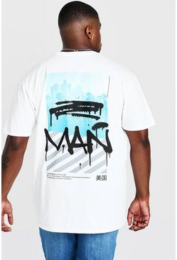 "Herr White Big & Tall - ""MAN"" t-shirt med graffititryck"