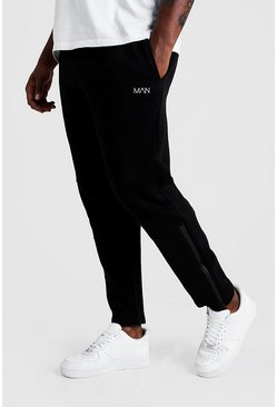 Mens Black Big & Tall Skinny Biker Panelled Joggers