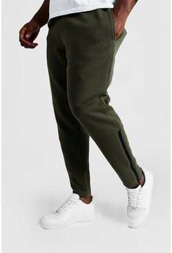 Mens Khaki Big & Tall Skinny Biker Panelled Joggers