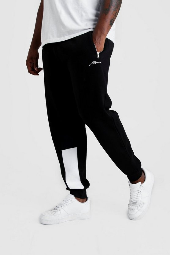 Mens Black Big & Tall Man Script Panelled Jogger