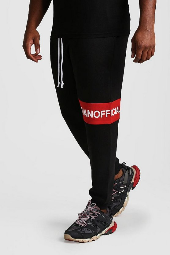 Black Big And Tall MAN Official Panelled Joggers