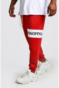 Mens Red Big And Tall man Official Panelled Joggers