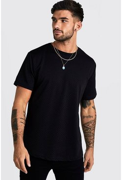 Mens Black Short Sleeve Waffle T-Shirt With Curve Hem