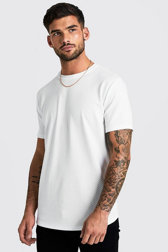 Mens White Short Sleeve Waffle T-Shirt With Curve Hem