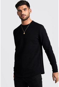 Mens Black Long Sleeve Waffle T-Shirt With Curve Hem