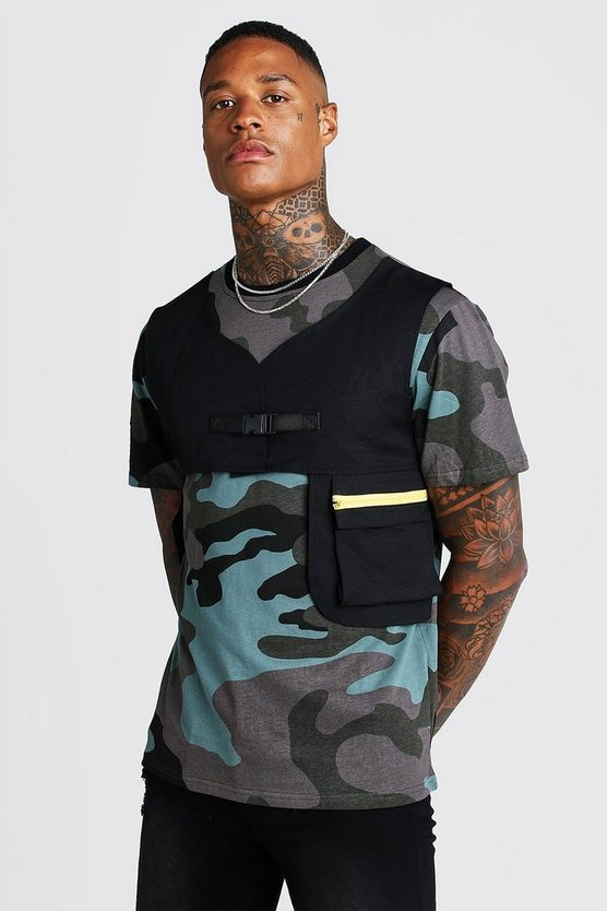 Mens Grey Camo Tee With Utility Vest