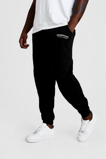 Black Big And Tall MAN Official Edition Limited Joggers