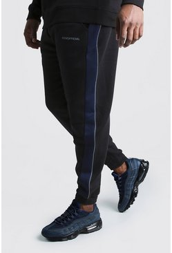 Herr Black Big & Tall MAN Official Tape Joggers