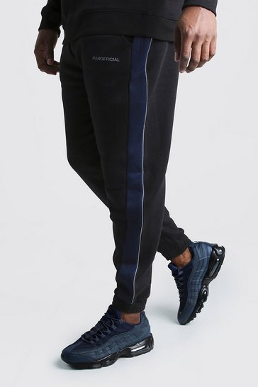 Mens Black Big & Tall MAN Official Tape Joggers