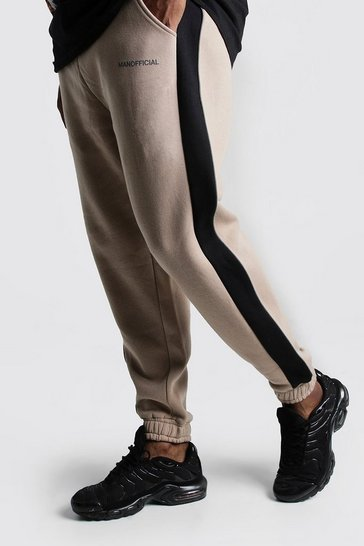 Mens Taupe Big & Tall MAN Official Tape Joggers