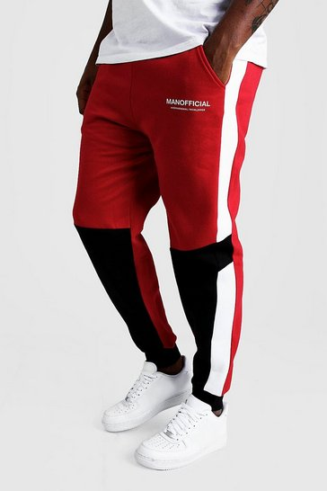 Mens Red Big And Tall MAN Official Colour Block Joggers