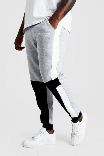 Mens Grey Big And Tall MAN Official Colour Block Joggers