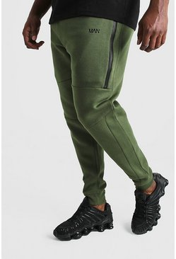 Pantaloni tuta Big And Tall in stile motociclista con linea MAN, Kaki, Maschio