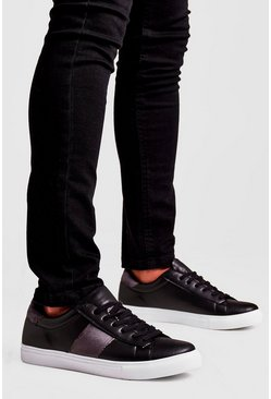 Mens Black Contrast Velvet Side Tape Trainer