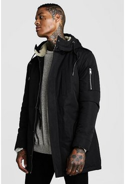 Herr Black Parka Coat With Borg Lined Hood