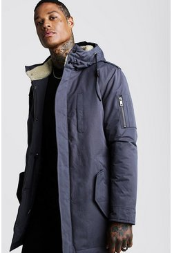 Mens Charcoal Parka Coat With Borg Lined Hoodie