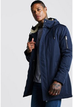 Navy Parka Coat With Borg Lined Hood