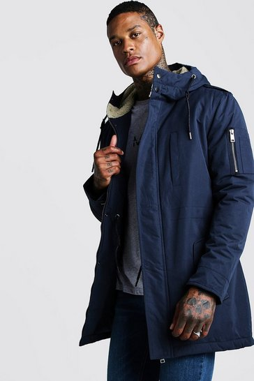 Mens Navy Parka Coat With Borg Lined Hood