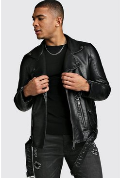 Black Faux Leather Biker Jacket With Belt