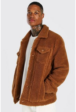 Mens Brown Borg Trucker Jacket