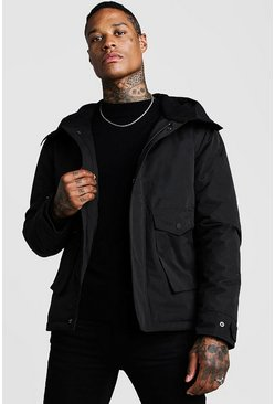 Mens Black Fleece Lined Parka With Oversized Pockets