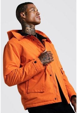 Mens Orange Fleece Lined Parka With Oversized Pockets