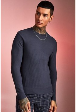Herr Charcoal Fine Ribbed Knit Jumper