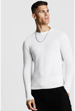 Herr Ivory Muscle Fit Ribbed Knitted Jumper