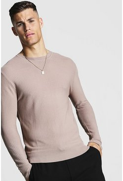 Taupe Fine Knit Ribbed Jumper