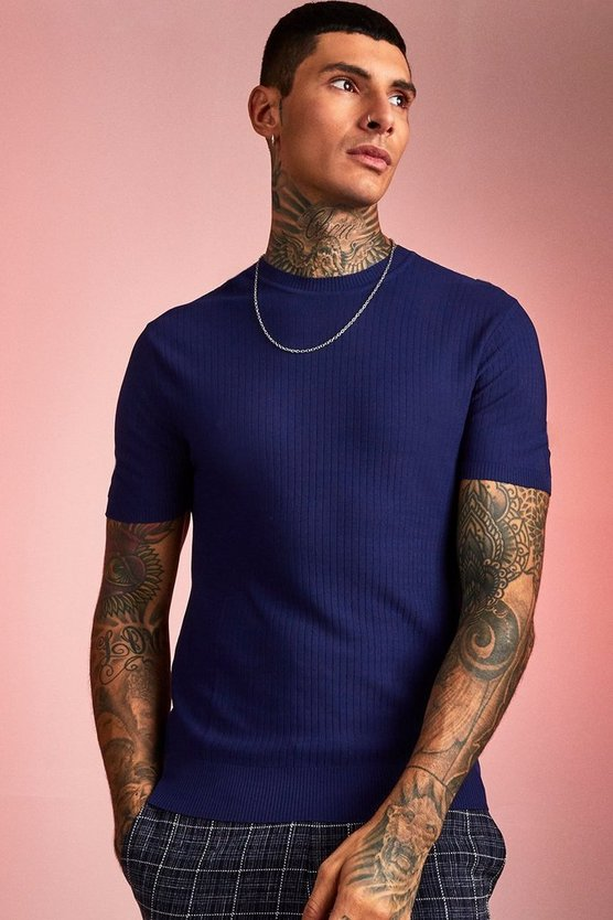 Navy Fine Knit Ribbed T-Shirt